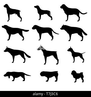 Dog silhouette vector icon pet set isolated animal black illustration collection - Stock Photo