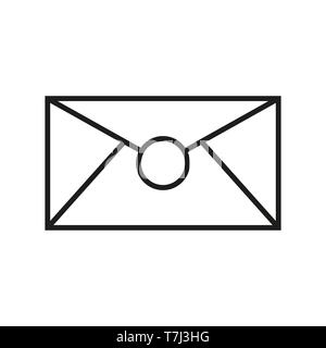 Icon envelope outline line vector email web. Mail message thin paper internet contact design illustration - Stock Photo
