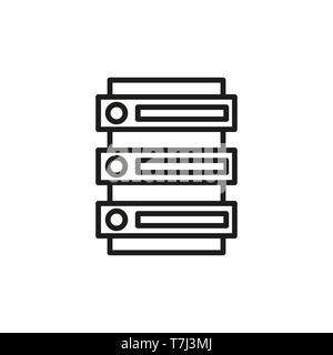 Icon server line outline cloud set hosting. Web data vector computer network database internet illustration thin - Stock Photo