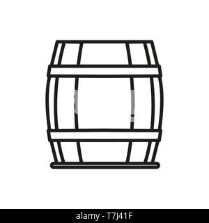 Barrel line icon isolated on white background. Outline thin alcohol drink element vector. - Stock Photo