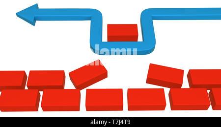 Blue symbolic arrow red brick take wall fragment, 3d illustration, horizontal, over white, isolated - Stock Photo