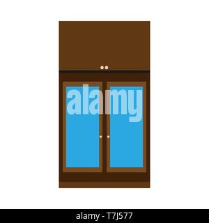 Cabinet apartment equipment isolated box. Interior simple vintage loft contemporary wood icon vector. - Stock Photo