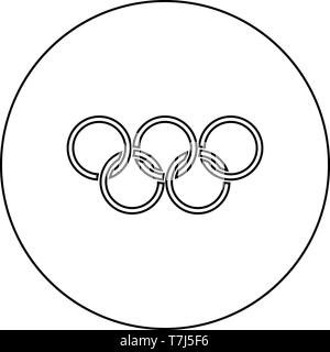 Olympic rings Five Olympic rings icon in circle round outline black color vector illustration flat style simple image - Stock Photo