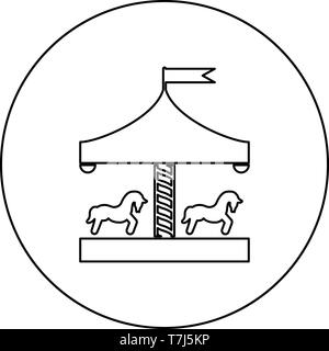 Carousel roundabout merry-go-round Vintage merry-go-round icon in circle round outline black color vector illustration flat style simple image - Stock Photo