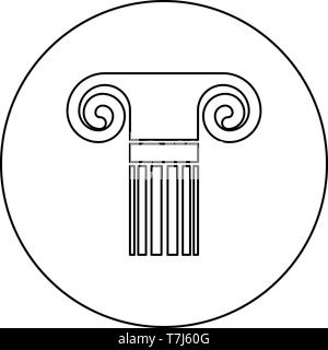 Column ancient style Antique classical column architecture element Pillar Greek roman column icon in circle round outline black color vector - Stock Photo