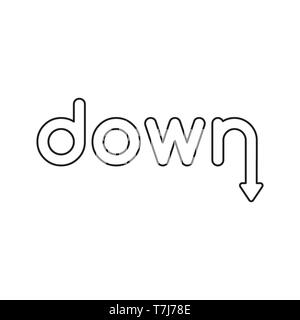 Vector icon concept of down word with arrow moving down. Black outlines. - Stock Photo