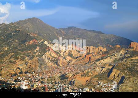 Incredible La Paz Cityscape with the Mountain Range in Backdrop, Bolivia, South America - Stock Photo