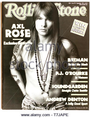 The cover of Rolling Stone magazine, issue 474 featuring Axl Rose of Guns & Roses - Stock Photo