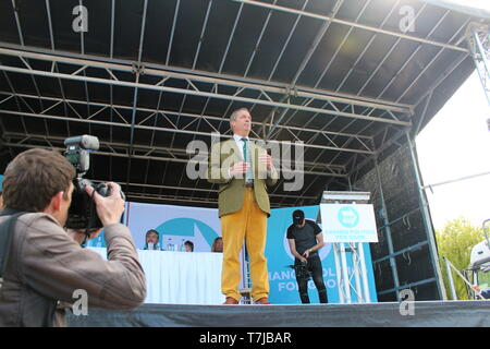 Brexit party leader Nigel Farage speaking in Chester at a Brexit party rally ahead of the European election - Stock Photo