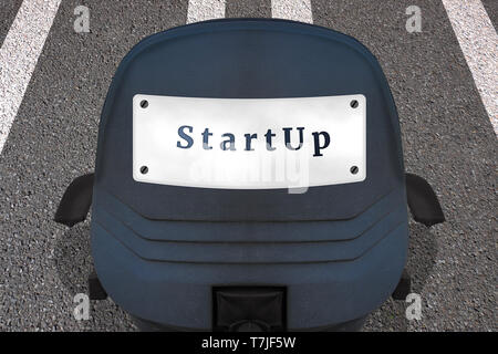 Start up concept poster. Text STARTUP. Office chair on marked runway or highway in start position. Car ID plate on back with inscription - Stock Photo