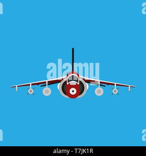 Military aircraft vector icon front view. Aviation air fighter jet. War plane advanced. Interceptor speed game navy vehicle - Stock Photo