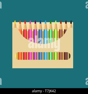 Pencil box vector icon art design education. Color draw school paper set equipment. Bright wooden tool packaging supplies - Stock Photo
