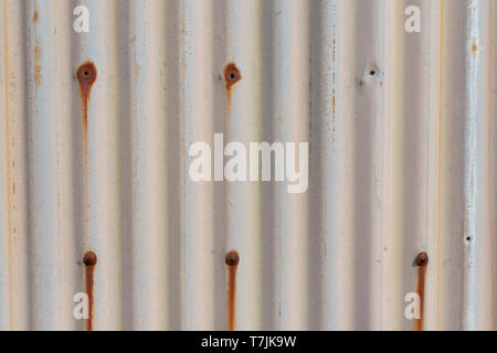 An iron corrugated sheet with old paint and holes that rusty, nice texture and use it as background - Stock Photo