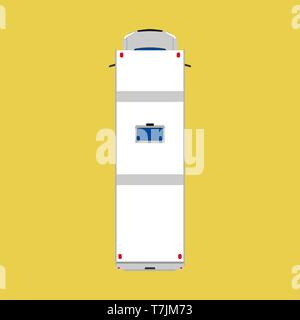Camper van top view car illustration. Vacation vehicle travel summer bus. Caravan transport truck white. Cartoon flat family wagon - Stock Photo