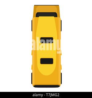 Bus yellow vector flat icon vehicle transportation top view isolated. Cartoon passenger traffic car above. Van pictogram simple - Stock Photo