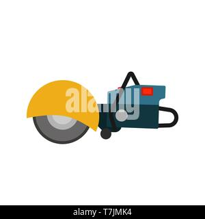 Power saw tool construction vector icon. Circular electric blade equipment machine cutter. Industry disk angle grinder - Stock Photo