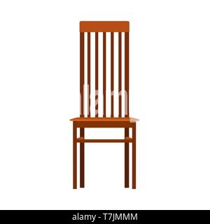 Wooden chair front view vector icon furniture. Classic interior sit. Retro brown cartoon home element flat room - Stock Photo
