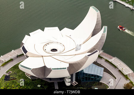 An Aerial View Of The ArtScience Museum, Singapore, South East Asia - Stock Photo