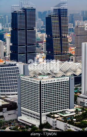 An Aerial View Of The Mandarin Oriental Hotel, Singapore, South East Asia - Stock Photo