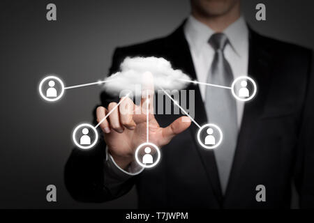 internet, technology, network, business concept - businessman in suit presses virtual touchscreen interface - cloud computing - Stock Photo