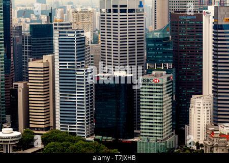 The Singapore Skyline, Singapore, South East Asia - Stock Photo