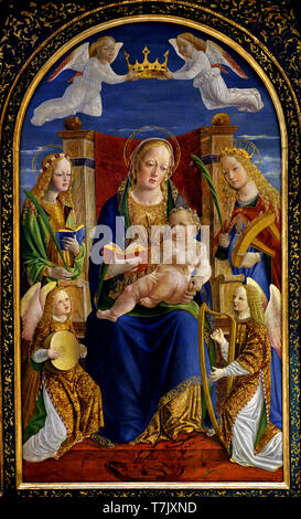 Virgin with Child, with St. Dorothee, St. Catherine and two Angels musicians 1500 Anonymous Lombardy, Italian, Italy, - Stock Photo