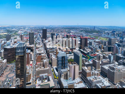 Johannesburg skyline. Aerial view over the Central Business District (CBD) from the Carlton Tower, Johannesburg, South Africa.