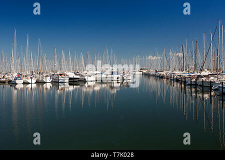 Sailboats in the marina, Heiligenhafen, Schleswig-Holstein, Germany, Europe - Stock Photo