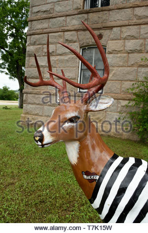 Llano County Jail Whitetail Deer Statue. Statue of Texas Whitetail Deer With Mom Tattoo and Prison Stripe Uniform Jacket. Antlers. Antlered Buck Texas - Stock Photo