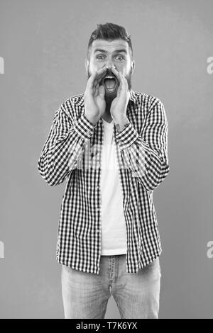 Can you hear him. Man shouting to you. Art of negotiations. Man try to persuade you in something. Hipster charismatic speaker try to persuade. Public talk and art of persuasive. Oratory concept. - Stock Photo