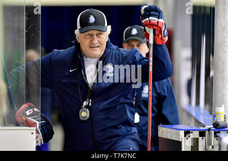 Czech Head Coach Milos Riha is seen during first training session of the Czech national team in Bratislava, Slovakia, prior to the 2019 IIHF World Championship, on May 7, 2019. (CTK Photo/Vit Simanek) - Stock Photo