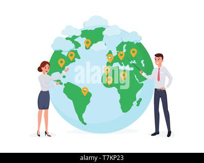 Cartoon people standing at world map with pins. Poster for presentation web page banner or social media vector illustration. Globalization worldwide business concept. Isolated on white - Stock Photo