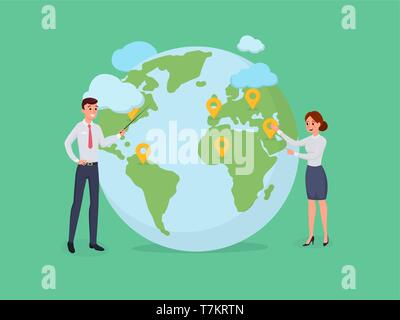 People standing at world globe with pins. Man and woman looking and pointing at geographical location on map. Vector illustration in flat style isolated on green - Stock Photo