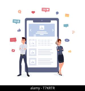 Mobile application or website developers concept. Communication concept, discussing business, social networking flat style vector illustration - Stock Photo