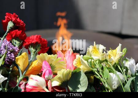 Eternal flame in the memorial complex Tsitsernakaberd  - Stock Photo