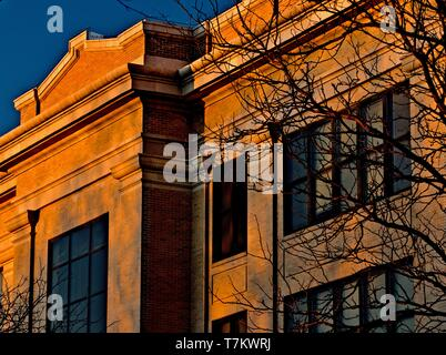 Old Main Building at Sunrise on West Texas A & M University Campus, Canyon, Texas. - Stock Photo