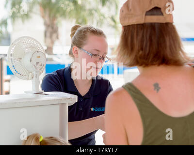 A fair-haired, young, female gate attendant checks the pass of a visitor to the Texas State Aquarium in Corpus Christi, Texas USA. - Stock Photo
