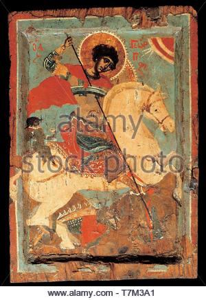 Macedonian-workshop-St George the dragon-slayer on horseback - Stock Photo