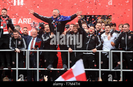 Sheffield United manager Chris Wilder on stage during the promotion parade in Sheffield City Centre. - Stock Photo