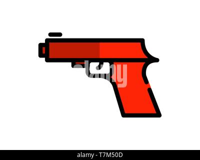 gun filled line icon. Element of gun icon for mobile concept and web apps. Thin filled line gun icon can be used for web and mobile - Vector - Stock Photo