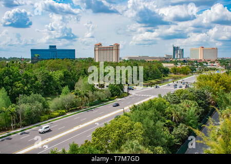 Orlando, Florida. April 7, 2019. Doubletree by Hilton, Hyatt Regency and Rosen Centre on lightblue cloudy background at International Drive area . - Stock Photo