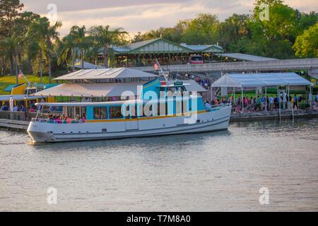 Orlando, Florida. April 02, 2019. Taxi boat in Magic Kingdom area at Walt Disney World. - Stock Photo