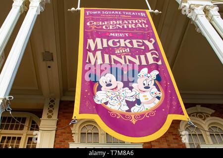 Orlando, Florida. April 02, 2019. Top view of Meet Mickey and Minnie sign in Magic Kingdom  at Walt Disney World . - Stock Photo