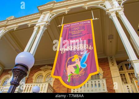 Orlando, Florida. April 02, 2019. Top view of Meet Tinkerbell sign in Magic Kingdom  at Walt Disney World . - Stock Photo