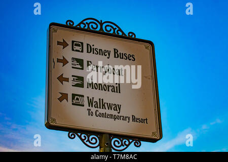 Orlando, Florida. April 02, 2019.Top view of Disney transportation sign in Magic Kingdom at Walt Disney World . - Stock Photo