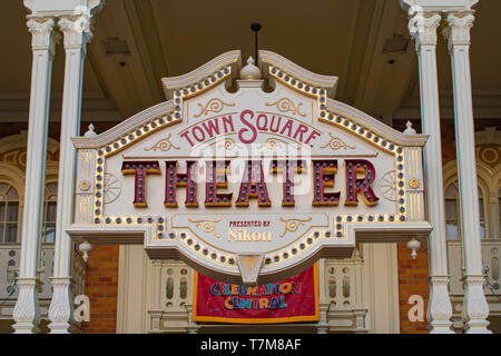 Orlando, Florida. April 02, 2019.Top view of Town Square Theater in Magic Kingdom at Walt Disney World. - Stock Photo