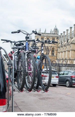 Bicycles mounted on a rear door rack - Stock Photo