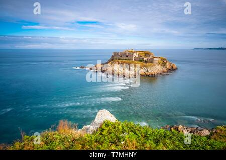 France, Finistere, Le Conquet, Kermorvan peninsula, fort of Kermorvan islet - Stock Photo