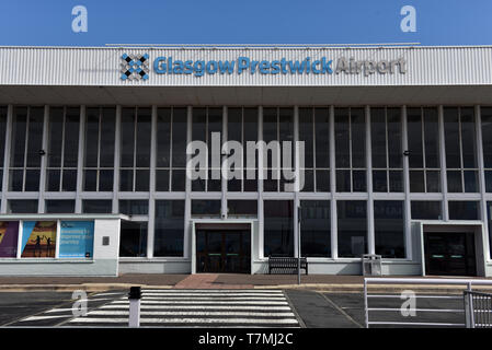 Glasgow Prestwick Airport front of main terminal building on a sunny day - Stock Photo