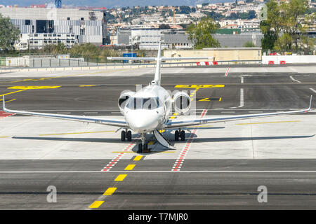 NICE, FRANCE - APRIL 2019: Hawker 900XP private executive jet on the ground at Nice Airport in the South of France. - Stock Photo